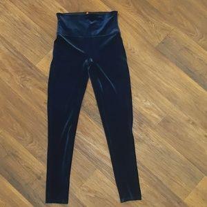 Spanx navy blue velvet high rise leggings large
